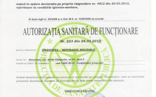 autorizatia sanitara de fuctionare a gradinitei1 Iepurasul Bocanila