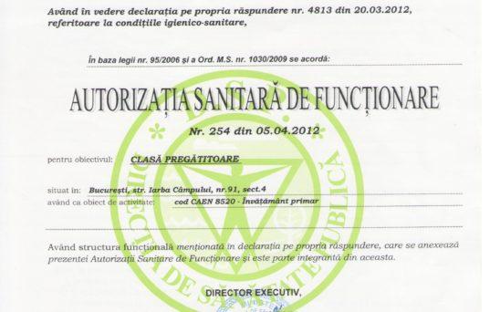 autorizatia sanitara de fuctionare a gradinitei2 Iepurasul Bocanila