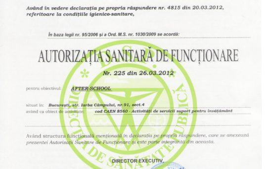autorizatia sanitara de fuctionare a gradinitei3 Iepurasul Bocanila