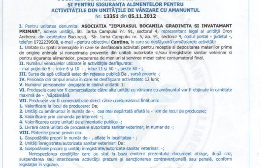 autorizatia sanitara de fuctionare a gradinitei4 Iepurasul Bocanila