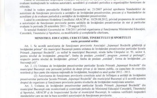 ordin ministru Iepurasul Bocanila
